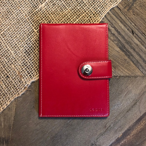 81111a6abd5c Lodis Red Leather Passport Wallet w/ Ticket Flap